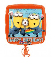"Eckiger Folienballon ""Minions - Despicable Me"" - Happy Birthday"