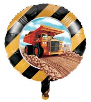 """Runder Folienballon """"Baumaschinen"""" - 45 cm"""