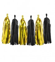 DIY Tassel-Girlande - metallic gold/schwarz - 1,5 m