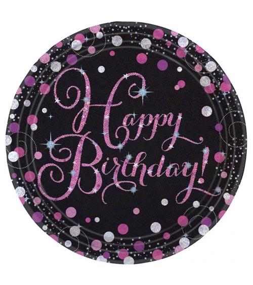 """Pappteller """"Sparkling Pink"""" - Happy Birthday - 8 Stück"""