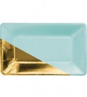 Rechteckige Pappteller - aqua/gold -  8 Stück