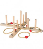 Ringwurfspiel aus Holz mit 5 Sisalringen