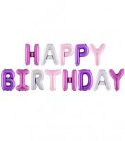 "Folienballon-Set ""Happy Birthday"" - Farbmix Pink - 340 x 35 cm"