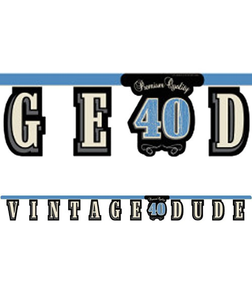 """Schriftzuggirlande """"Vintage Dude - 40. Geburtstag"""" - 2,67 m"""
