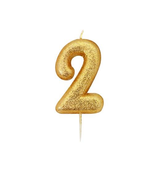 """Geburtstagskerze mit Glitter """"2"""" - gold"""