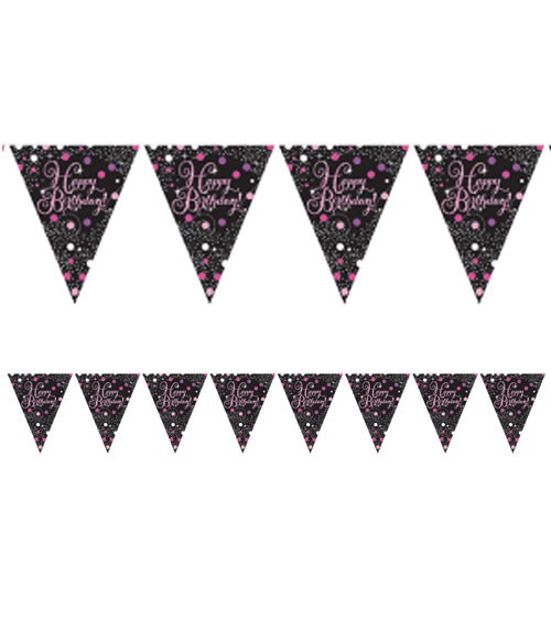 "Wimpelgirlande ""Sparkling Pink"" - Happy Birthday - 4 m"