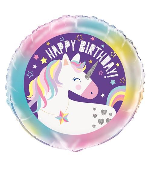 "Runder Folienballon ""Einhorn Party"" - Happy Birthday - 45 cm"