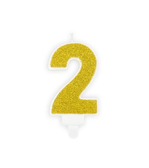 "Zahlenkerze mit Glitter ""2"" - gold - 7 cm"