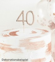 """Deko-Stecker Zahl """"40"""" mit Strasssteinen - rosegold"""