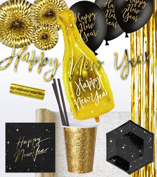 "Silvester-Deko-Set ""Happy New Year"" - schwarz & gold - 75-teilig"