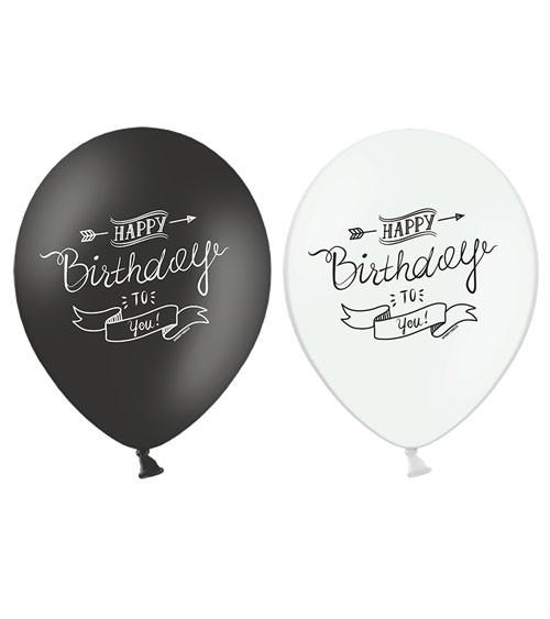 "Luftballon-Set ""Happy Birthday to you"" - schwarz/weiß - 6 Stück"