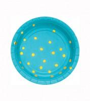 Kleine Pappteller - bermuda blue/gold - 8 Stück