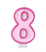 """Geburtstagskerze """"8"""" - rosa/pink"""