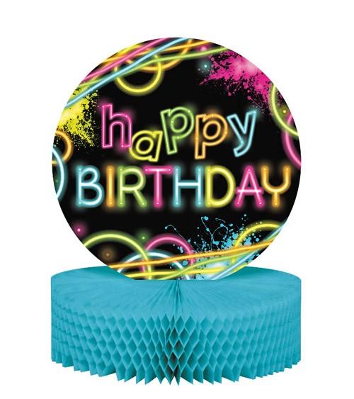 """Wabenaufsteller """"Neon Party"""" - Happy Birthday"""