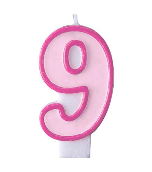 """Geburtstagskerze """"9"""" - rosa/pink"""