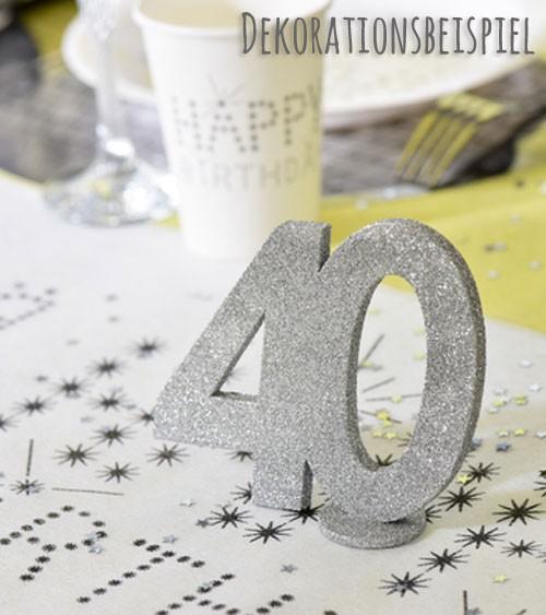 """Tischaufsteller """"40"""" - silber - 11 x 10 cm"""