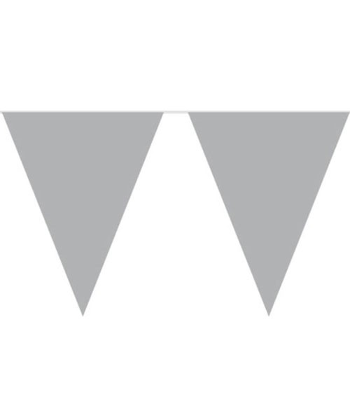 XL-Wimpelgirlande aus Kunststoff - silber - 10 m