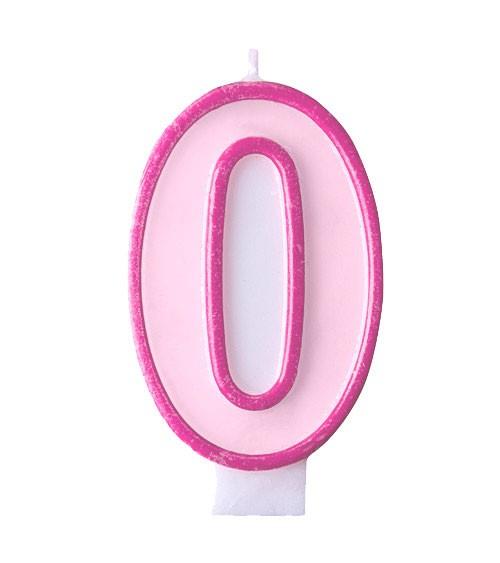 """Geburtstagskerze """"0"""" - rosa/pink"""