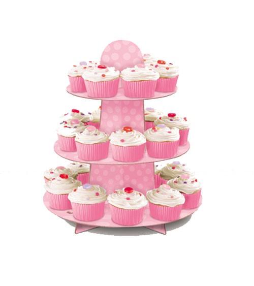 Cupcake-Ständer mit Punkten - rosa