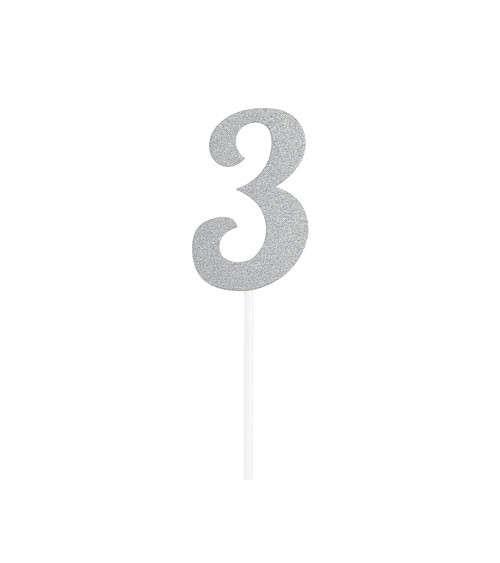 """Kuchen-Topper-Zahl aus Pappe """"3"""" - glitter silber - 5 x 7,5 cm"""
